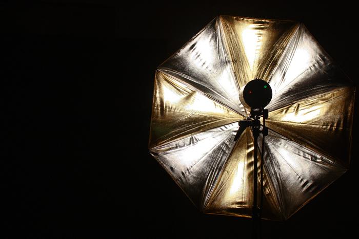 Paraply silver och guld